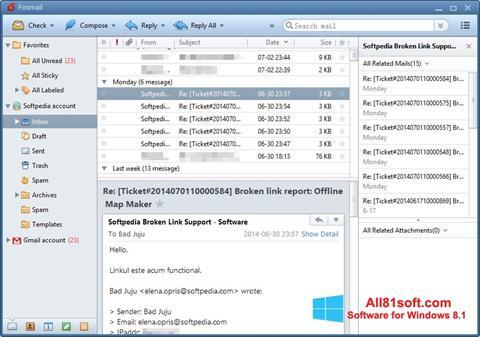 Ekrānuzņēmums FoxMail Windows 8.1