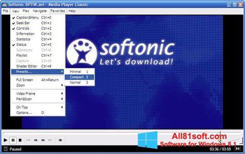 Ekrānuzņēmums Media Player Classic Windows 8.1