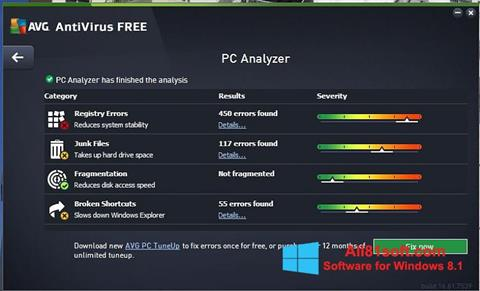 Ekrānuzņēmums AVG AntiVirus Free Windows 8.1
