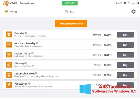Ekrānuzņēmums Avast Free Antivirus Windows 8.1