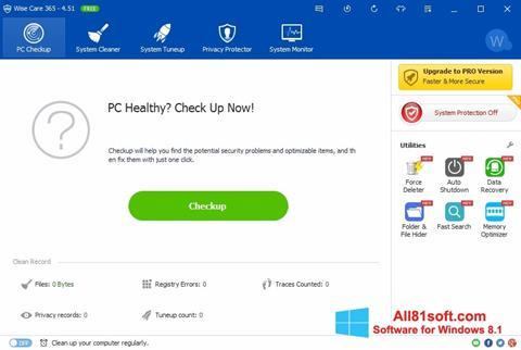 Ekrānuzņēmums Wise Care 365 Windows 8.1