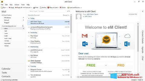 Ekrānuzņēmums eM Client Windows 8.1