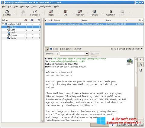 Ekrānuzņēmums Claws Mail Windows 8.1
