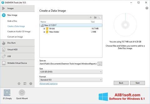 Ekrānuzņēmums DAEMON Tools Lite Windows 8.1