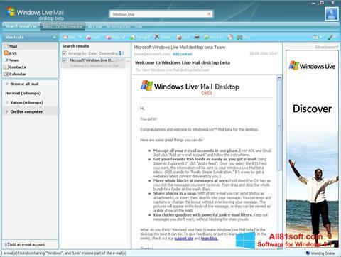 Ekrānuzņēmums Windows Live Mail Windows 8.1