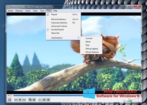 Ekrānuzņēmums VLC Media Player Windows 8.1