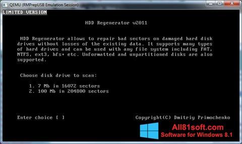 Ekrānuzņēmums HDD Regenerator Windows 8.1