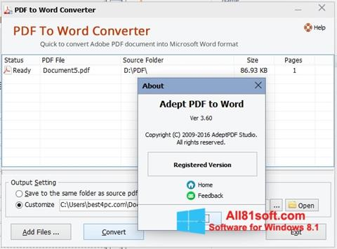 Ekrānuzņēmums PDF to Word Converter Windows 8.1
