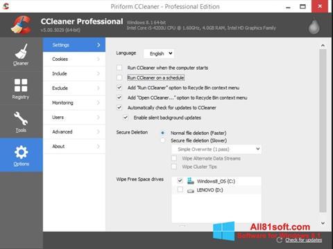 Ekrānuzņēmums CCleaner Windows 8.1
