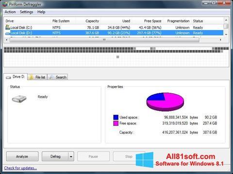 Ekrānuzņēmums Defraggler Windows 8.1