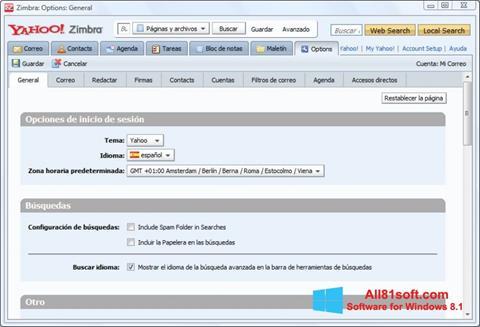 Ekrānuzņēmums Zimbra Desktop Windows 8.1